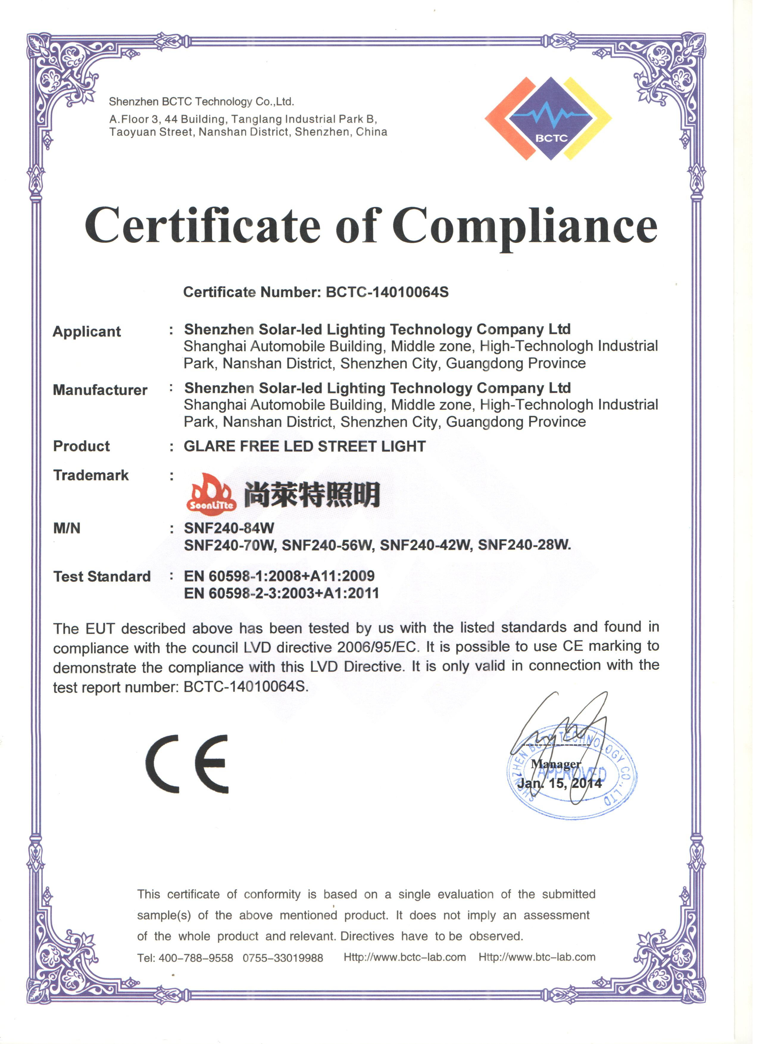 Certificates ce certificate for led street light ce certificate for led street light xflitez Image collections